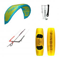 Airush Kite + Shinn Pinbot Yellow + Bar + Pumpe - komplet pakke